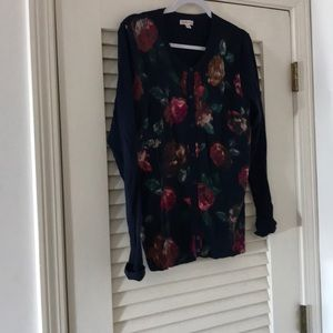 Merona navy sweater with floral pattern on front.